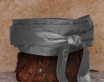 Grey leather wrap belt, womens grey belt, obi sash  - Sash-a