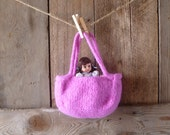 bright pink flower girl basket, little purse // hand knit and felted