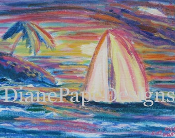 "South Seas Sunset 5x7 Signed Print w/2"" Border - Sailboat Art Print, Nautical, Sailboat Wall Art, Island Sunset, Tropical, Romantic, Sailors"