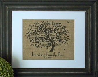 Family Tree Personalized Burlap Print - 10 Tree Styles to choose from.