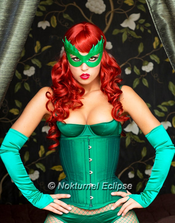 Poison Ivy Green Leather Mask Batman Female Villain Comic Con Sexy Halloween Costume Masquerade Fetish Ball