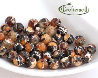 Pressed Baltic Amber beads - 10mm round beads - set of 2 beads
