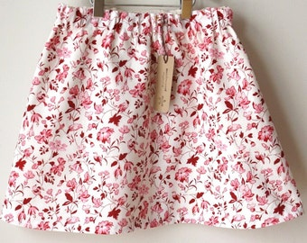 girls skirt / organic cotton / Size 6 / pink floral