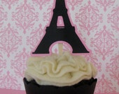 Eiffel Tower Cupcake Toppers, Paris Cupcake Toppers – Set of 12 - MADE TO ORDER