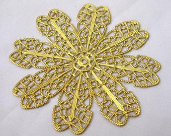 6pcs Large Flower Filigree Brass Findings for Fashion Design bf116