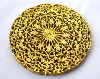 6pcs Round Stamping Brass Filigree Findings for Jewelry Design Zodiac Lace bf119