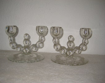 Double candle holders set of two (2), vintage, glass, unusual