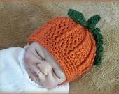 Crochet Baby Pumpkin Hat, Girl Hat, Boy Hat,  Newborn Pumpkin Crochet Hat, Baby Pumpkin Hat, Halloween Hat, Photo Prop, Gift