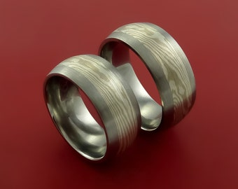Titanium, and Mokume Ring Set Custom Made to Any Size and Finish