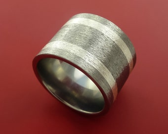 Titanium Wide Ring with 4mm Silver Inlay Wedding Band Made to Any Size 3-22
