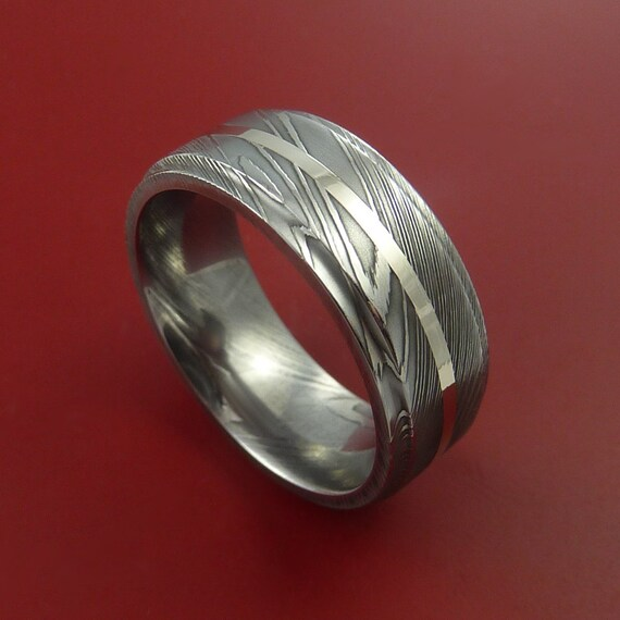 Damascus Steel 14K White Gold Ring Wedding by ...