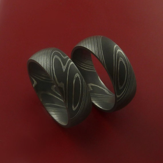 matching damascus steel ring set acid finish wedding bands