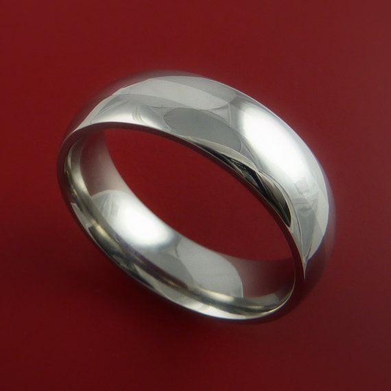 Titanium Ring Classic Style with Silver Inlay Wedding Band Any Size and Finish