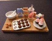 Miniature Dollhouse Peppermint Cupcake Prep Board