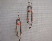 Copper Wire Woven Hammered Copper Earrings with Red Jasper Beads