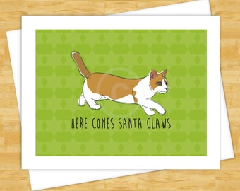 Cat Christmas Cards - Here Comes Santa Claws - Funny Christmas Cards Holiday New Years Santa Claus