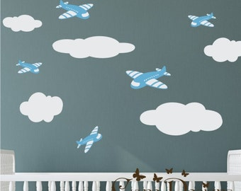 Airplanes and Clouds set Fabric wall decal, Removable, reusable and repositionable fabric decal