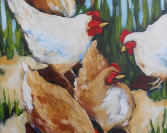 16x20 Original painting -Five Chickens