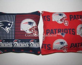 NFL New England PATRIOTS Cornhole Bags Corn hole Corn Toss Baggo Set of 8