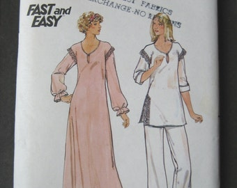 CLEARANCE Vintage 1970s Pajamas PJs Nightgown Pegnoir Butterick 5701 Size Medium 12 to 14