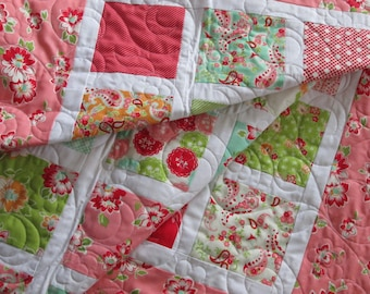 Baby Girl Quilt,Modern Girl Quilt,  Nursery Bedding, Crib Blanket, Pink Aqua Girl Bedding, Scrumptious MADE TO ORDER