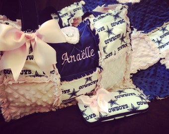 Dallas cowboy rag quilted diaper bag in pink for baby girl