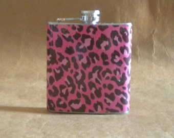 On SALE Pink and Black Leopard Print 6 ounce Stainless Steel Girl Gift Flask KR2D 6744