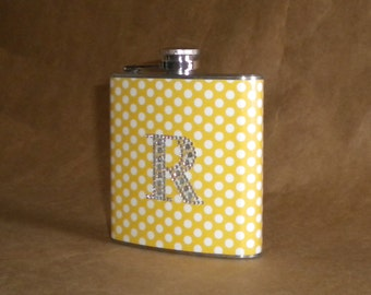 Personalized Gift Yellow with White Polka Dots Print with ANY Rhinestone Initial Gift Flask 6 ounces KR2D 6337