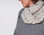Chunky crochet circle scarf · Hand crocheted merino wool loop scarf · Ghost white with brown sparks · Gift ideas for her him