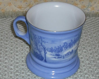 Clearance Vintage Currier Ives Blue White Mug Cup Snow Winter Wilderness Ceramic Coffee Tea Retro Dining Serving Dish Home Kitchen