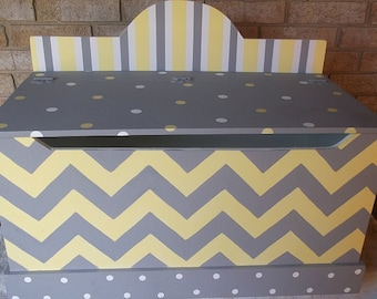 Toy Chest, Yellow Gray, Chevrons, Bench, Toy Box, Hope Chest, Toy Bin, Toy Storage, Custom Wood, Hand Painted,  Personalized