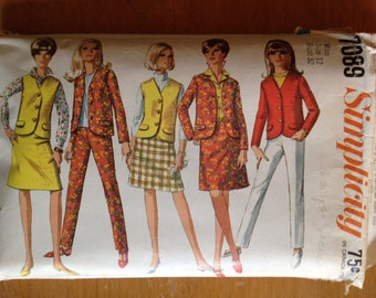 1967 Simplicity Pattern for Jacket, Vest, Skirt and Pant Size 12