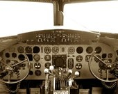 Instant Download Photography- Sepia color Vintage Style- Cockpit of the 1942 Douglas Skytrain DC-3 US Military Air Force 7x10 Inch - Digital