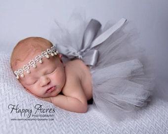 Platinum Princess tutu and bling headband, rhinestone headband, newborn tutu, baby tutu, grey tutu, silver tutu, newborn photography  prop