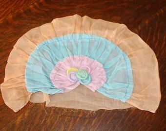 Antique Organdy Boudoir Pillow Cover Flapper Era Fan Shape Unused