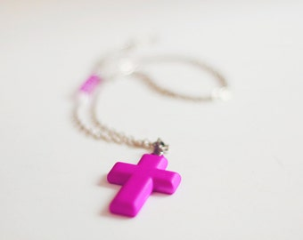 Neon Purple cross necklace