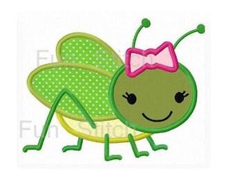 Girl grasshopper applique machine embroidery design instant download