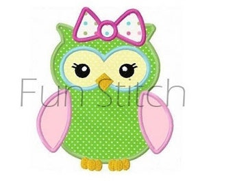Girl owl applique machine embroidery design instant download