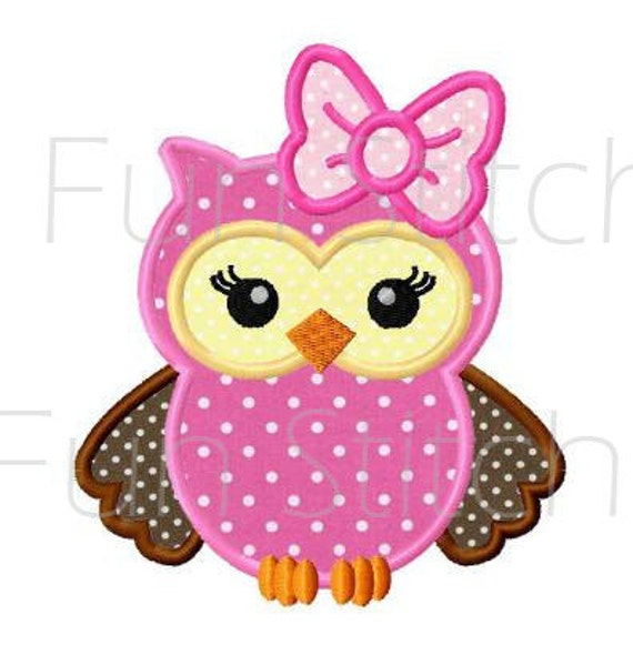 Girl Owl Applique Machine Embroidery Design By FunStitch