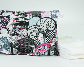 Pink & Black Japanese Fabric Anime Diaper and Wipe Clutch