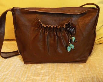 New Leather Handbag with Turquoise