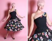 DESIGNER 1950's Dior Style Inky Black Cotton One Shoulder Party Dress w/ Tulips Appliques & Double Tiered Circle Skirt by Victor Costa - M