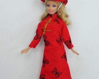 Handcrafted Barbie Outfit Traditional Vietnamese vintage style costume Dress #06