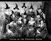 Halloween, Witch, Witches, Vintage, Photograph, Black and White, Digital, 5 x 7, Coven, Moon, Crescent Moon