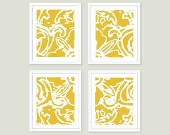 Abstract Flower Print Set  - Set of Four Prints - Modern Wall Art  - Mustard Yellow Home Decor