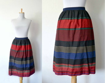 80s striped skirt / color block pencil skirt / petite concept by devon / small