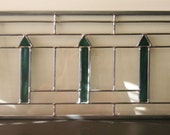 """Arts and Crafts Style Transom -10"""" x 20""""--Stained Glass Window Panel"""