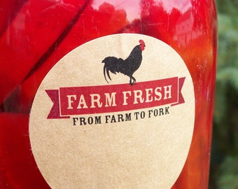 Farm Fresh Rooster KRAFT paper Canning jar labels, 2 inch round stickers for mason jars, fruit and vegetable preservation