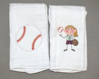 Baby girl baseball burp cloth softball burp cloth sports burp cloth personalized burp cloths
