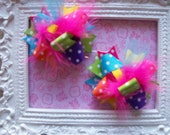 Hair Bows Set of 2---Mini Funky Fun Over the Top Bows---Pink, Purple, Orange, Lime, Turquoise, Yellow